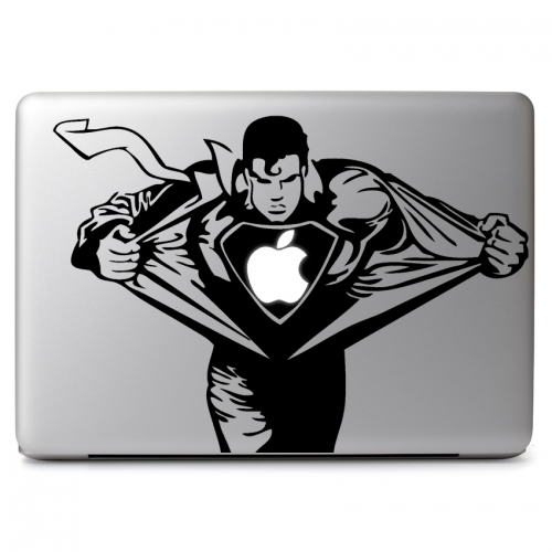 DC Comics Superman Clark Kent Ripping Shirt Revealing Cutout for Glowing Apple Logo Secret Identity - Apple Macbook Air Pro 11