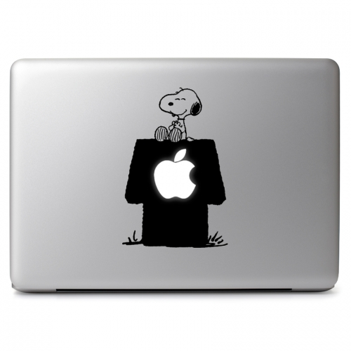 Peanuts Snoopy Sitting On His Dog House With Cutout For Glowing Apple Logo Apple Macbook Air Pro 11 13 15 17 Vinyl Decal Sticker Dreamy