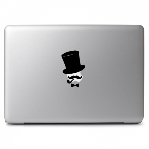 Pipe Smoking Gentleman with Mustache, Bow Tie, and Top Hat - Apple Macbook Air Pro 11