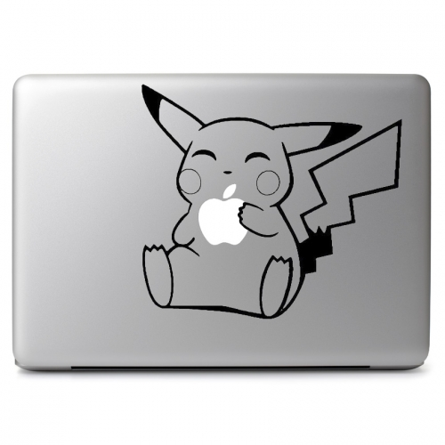 Pokemon Pikachu Eating Apple When Fit Over Glowing Apple Logo - Apple Macbook Air Pro 11