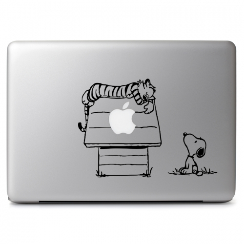 Calvin & Hobbes / Peanuts Crossover with Hobbes Sleeping on Snoopy's House Fits Over Glowing Apple Logo - Apple Macbook Air Pro 11
