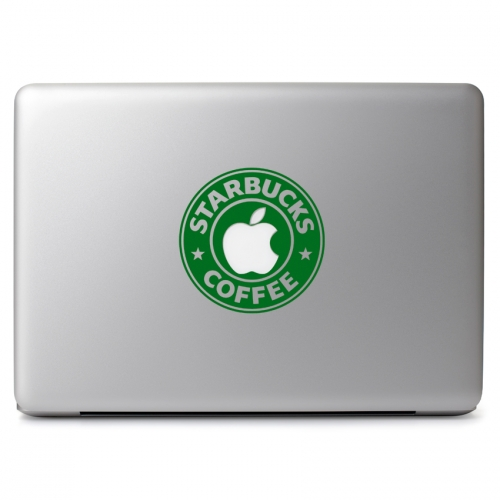 Starbucks Coffee Logo with Cutout for Glowing Apple Logo - Apple Macbook Air Pro 11