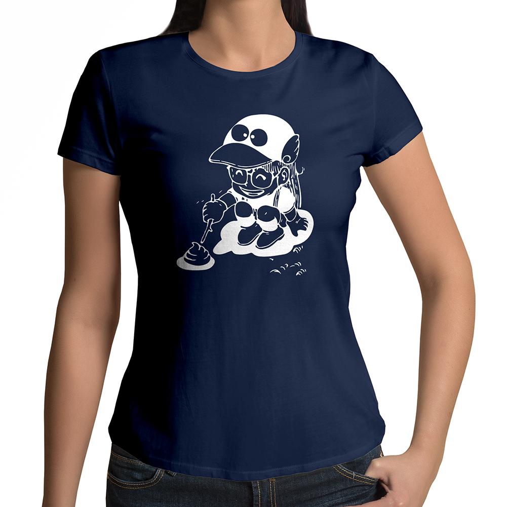 Akira Toriyama Dr. Slump Arale Norimaki Poking Poop-Boy Women's Crew Neck T-Shirt
