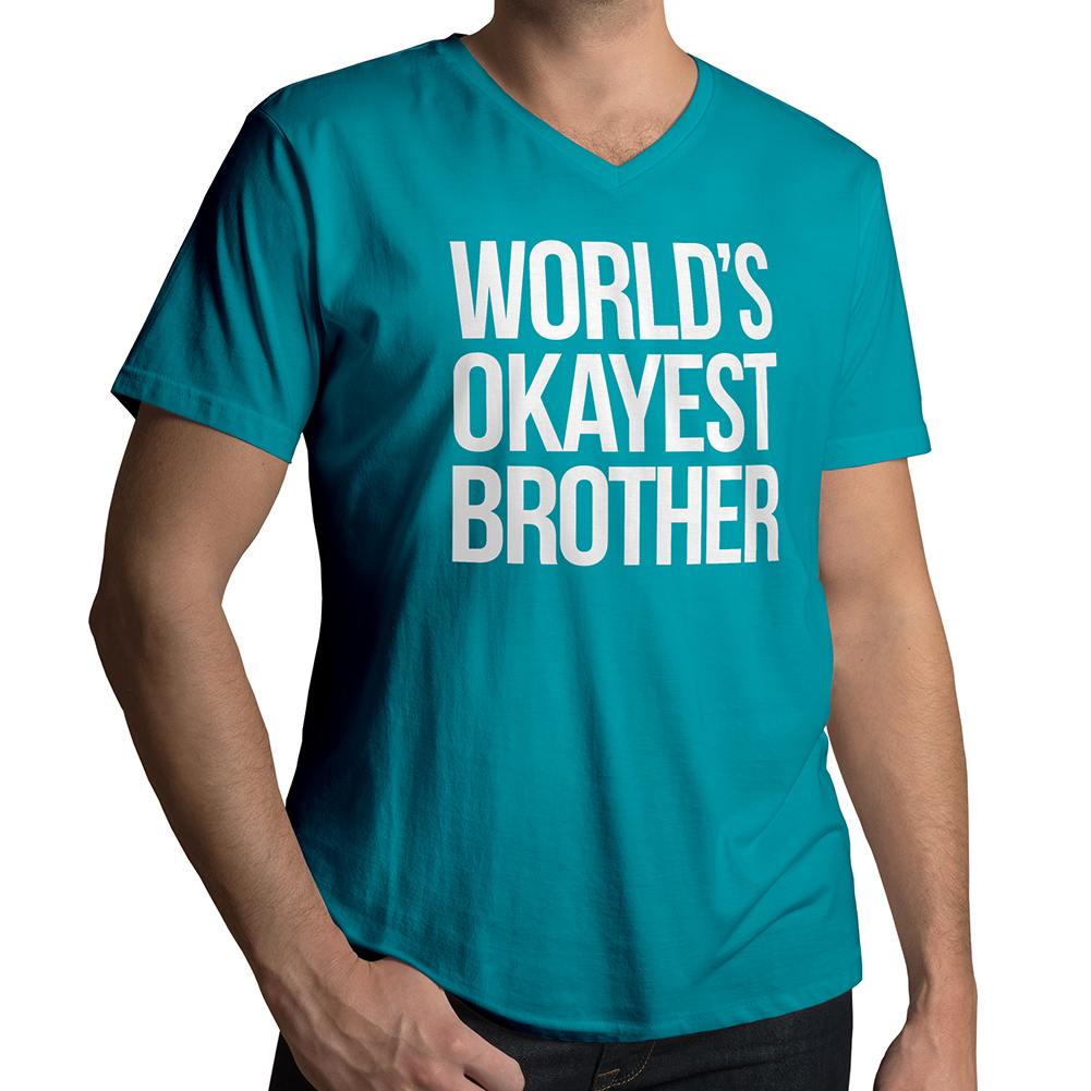 3fcb7b4f8031 World s Okayest Brother Men s   Unisex V-Neck T-Shirt